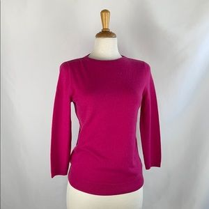 Talbots Hot Pink Cashmere 3/4 Sleeve Sweater